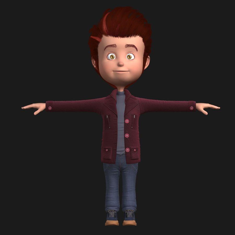 Postać z kreskówki chłopiec nie jest uzbrojony royalty-free 3d model - Preview no. 2