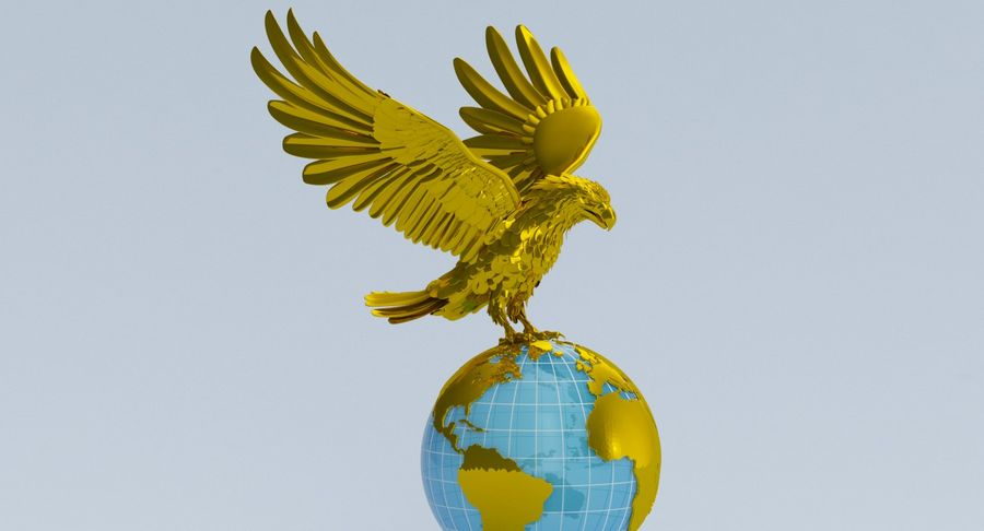 Eagle holding Globe royalty-free 3d model - Preview no. 8