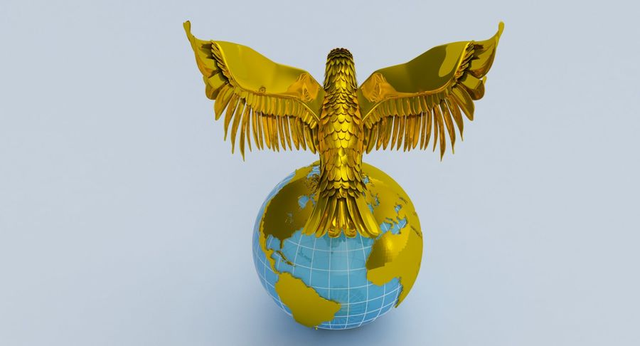 Eagle holding Globe royalty-free 3d model - Preview no. 9