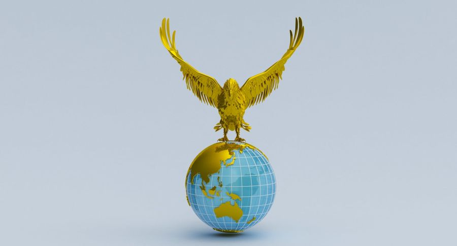 Eagle holding Globe royalty-free 3d model - Preview no. 7