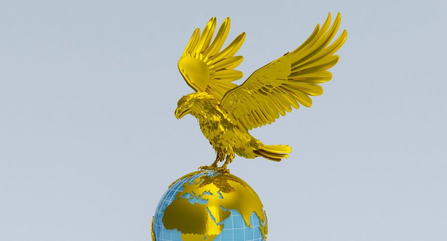 Eagle holding Globe royalty-free 3d model - Preview no. 2