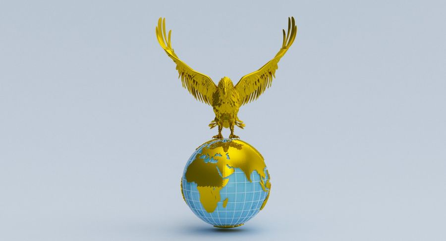 Eagle holding Globe royalty-free 3d model - Preview no. 5
