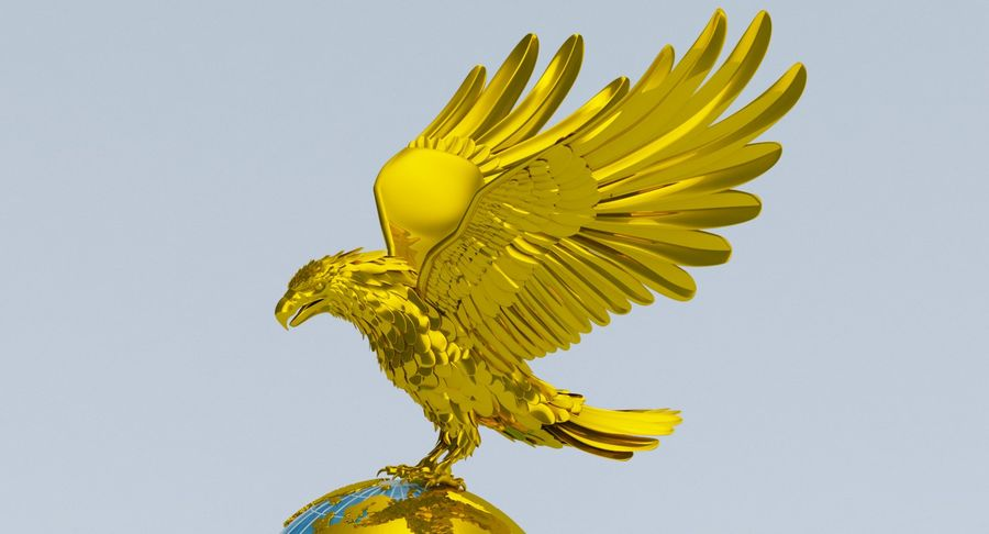 Eagle holding Globe royalty-free 3d model - Preview no. 3