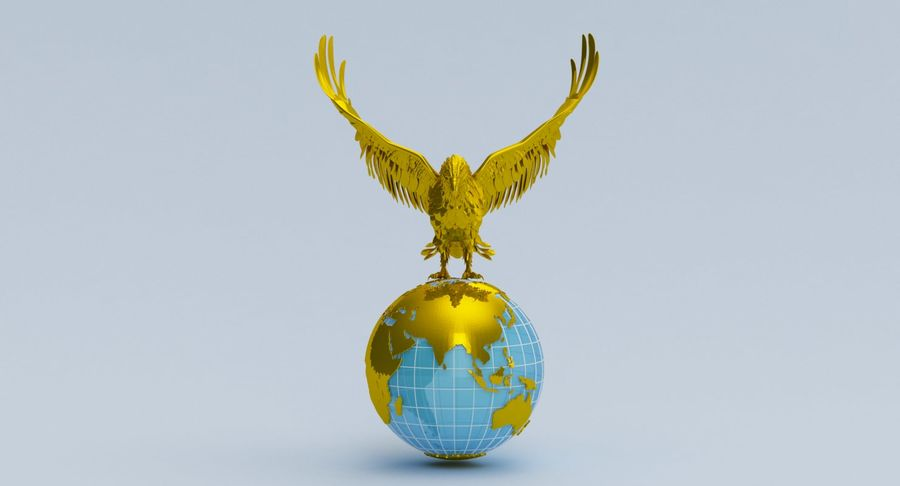 Eagle holding Globe royalty-free 3d model - Preview no. 4