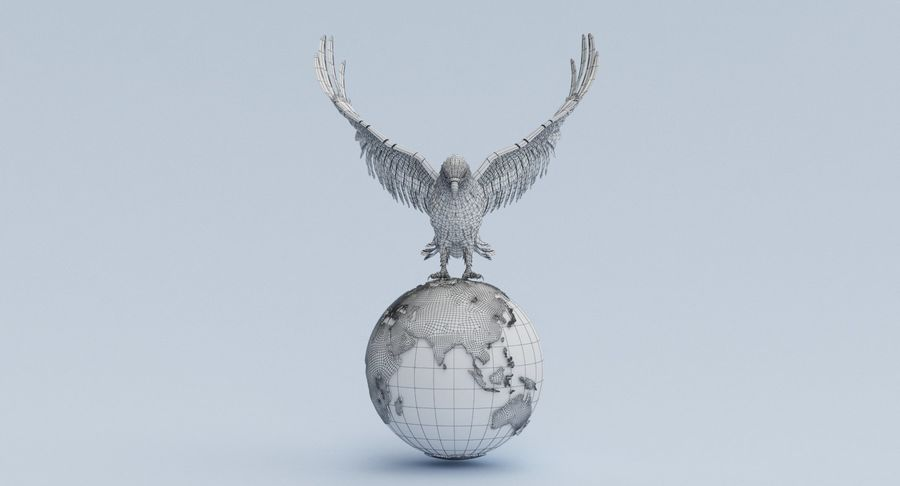 Eagle holding Globe royalty-free 3d model - Preview no. 10