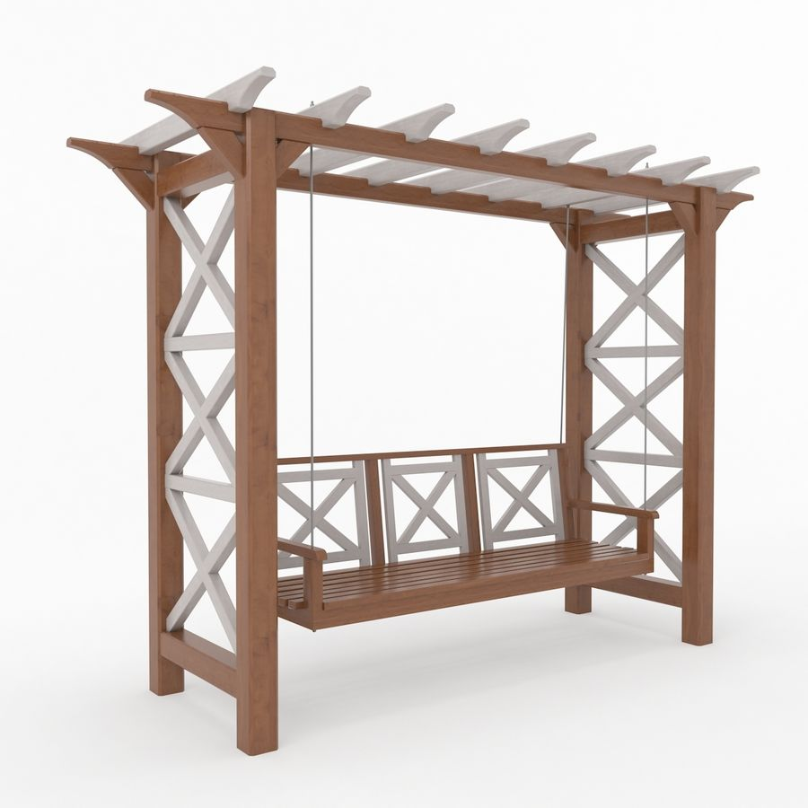 Tuin - park pergola schommel royalty-free 3d model - Preview no. 3