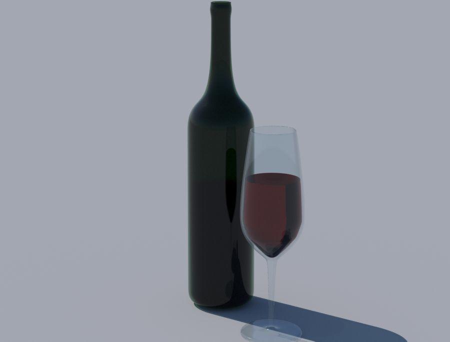 Бутылка вина и бокал royalty-free 3d model - Preview no. 2
