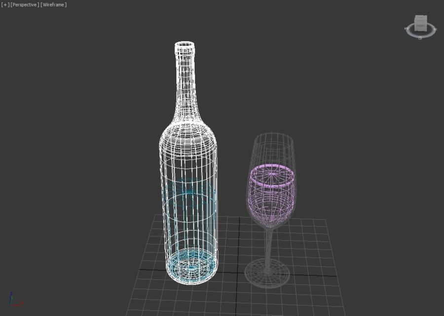 Бутылка вина и бокал royalty-free 3d model - Preview no. 5