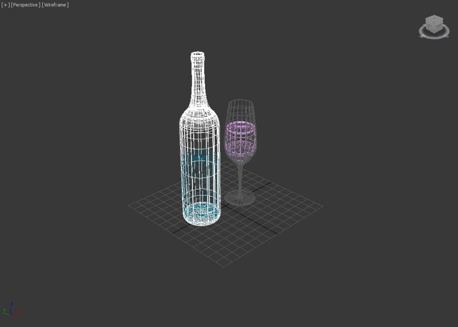 Бутылка вина и бокал royalty-free 3d model - Preview no. 4