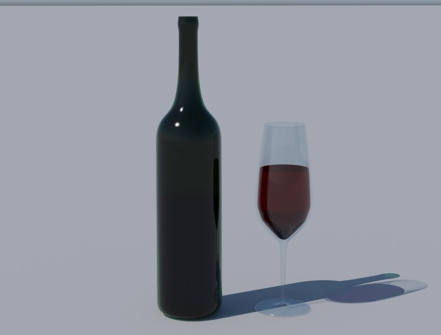 Бутылка вина и бокал royalty-free 3d model - Preview no. 3