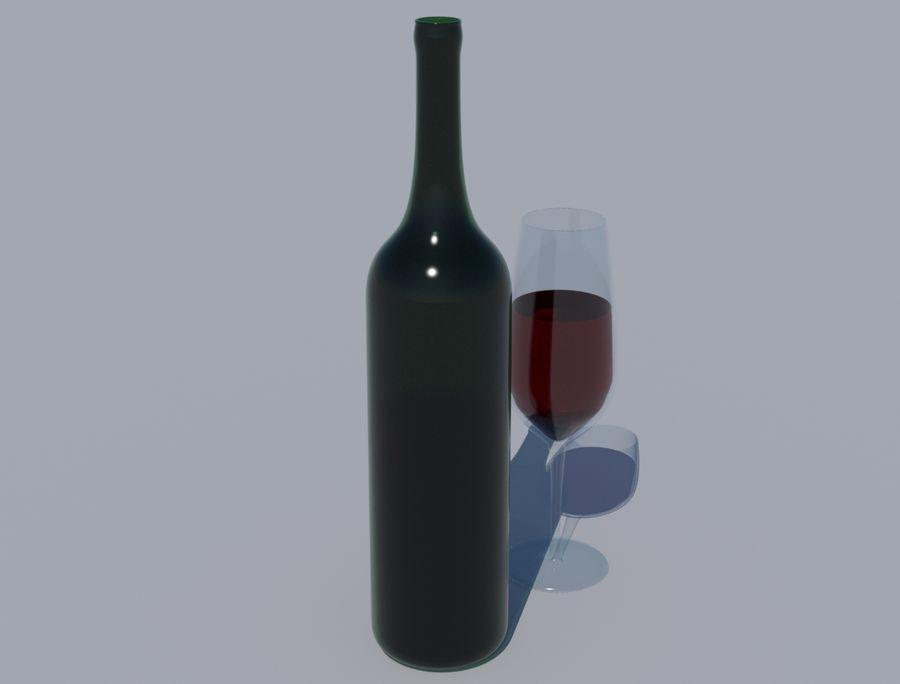 Бутылка вина и бокал royalty-free 3d model - Preview no. 1