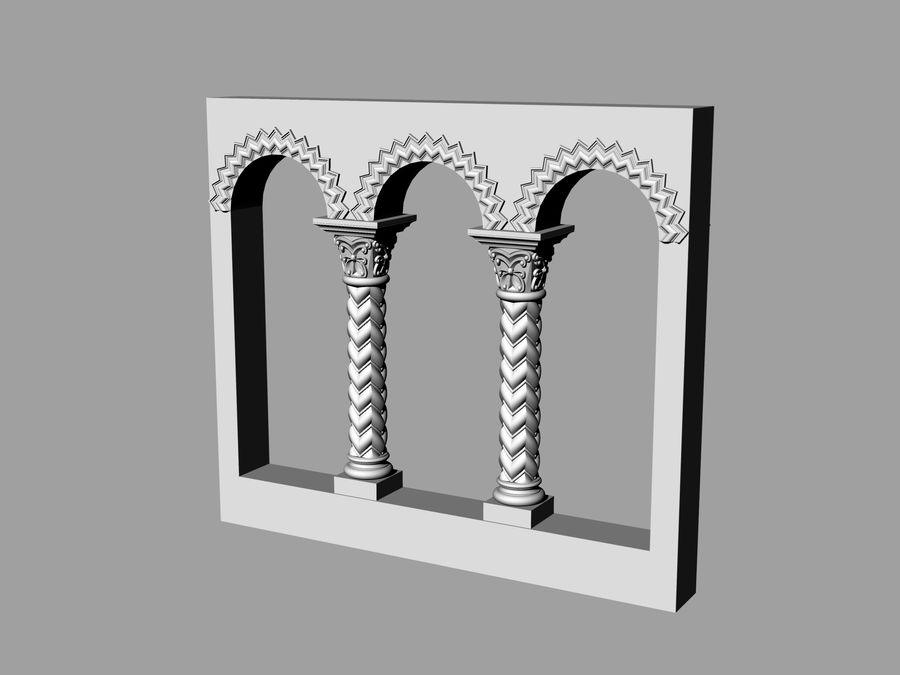 ancient columns and arches royalty-free 3d model - Preview no. 1