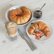 petit déjeuner avec croissant 3d model