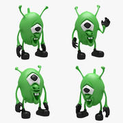 Cartoon Alien 01 (3 POSE) 3d model