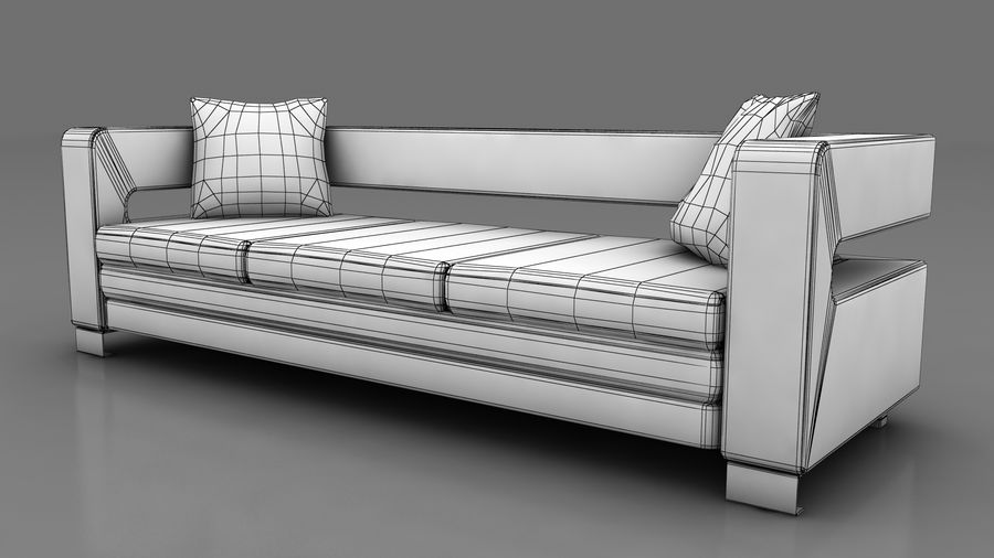 modern couch sofa royalty-free 3d model - Preview no. 4