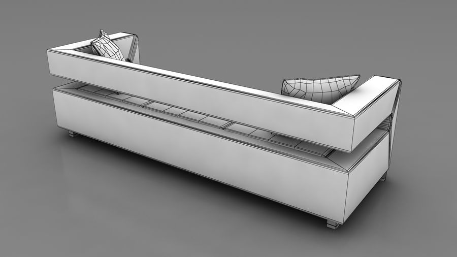 modern couch sofa royalty-free 3d model - Preview no. 6