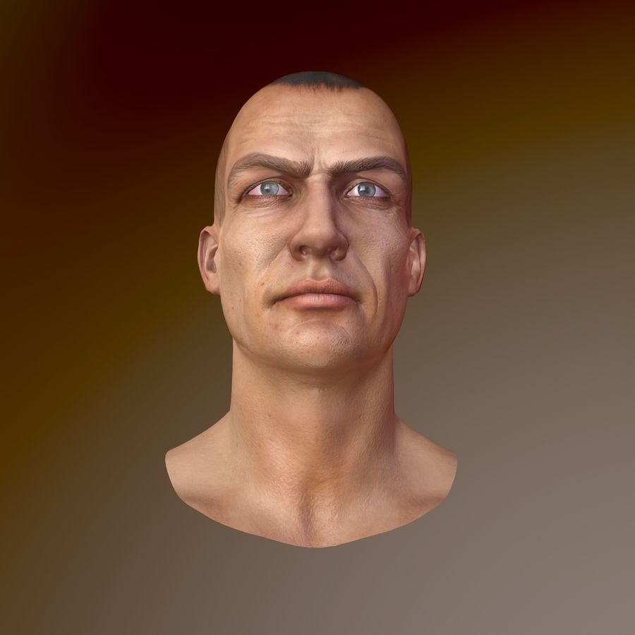 Cabeça masculina royalty-free 3d model - Preview no. 9