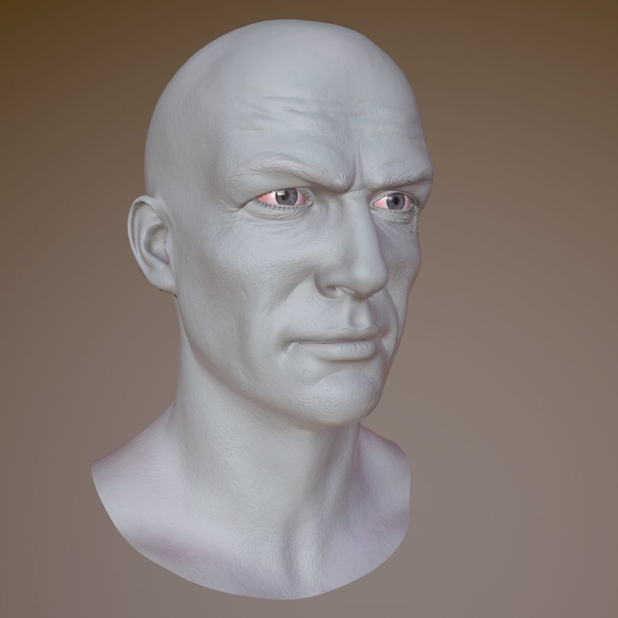 Cabeça masculina royalty-free 3d model - Preview no. 14