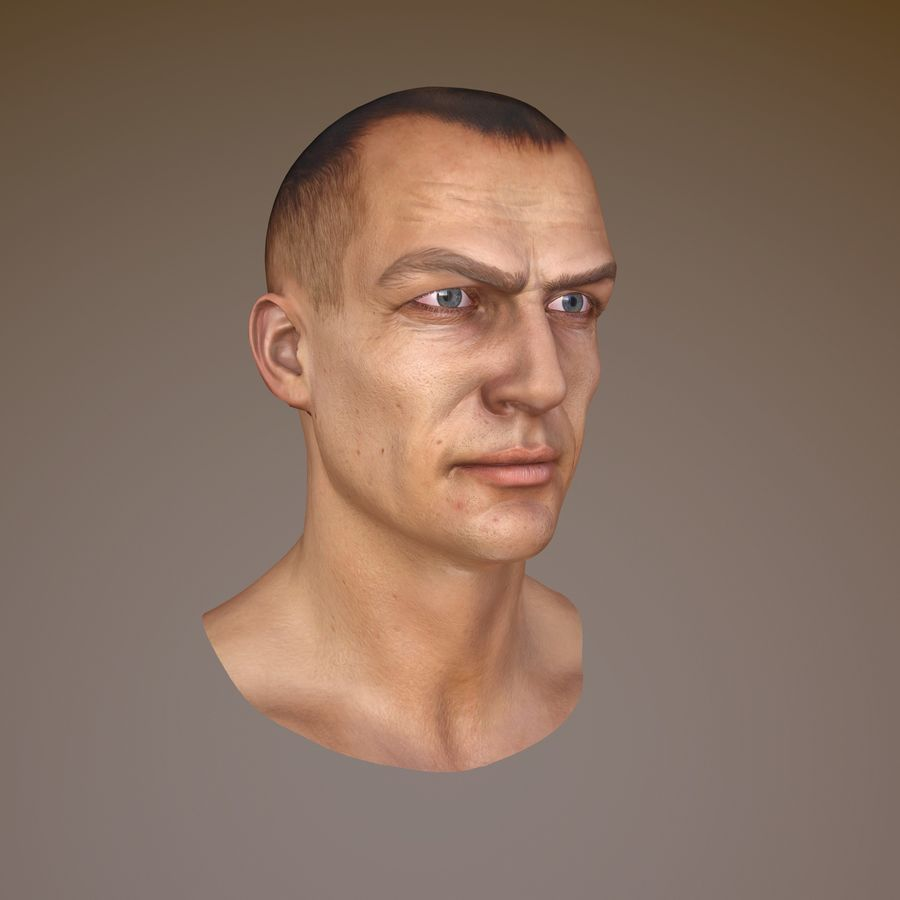 Cabeça masculina royalty-free 3d model - Preview no. 8