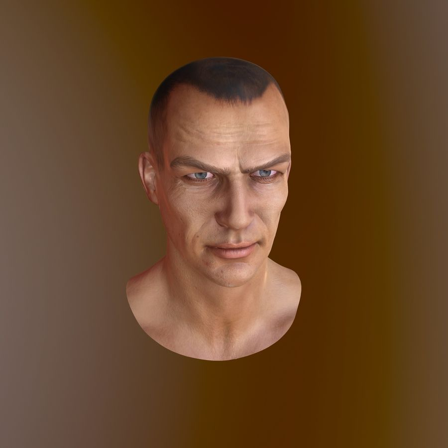 Cabeça masculina royalty-free 3d model - Preview no. 10
