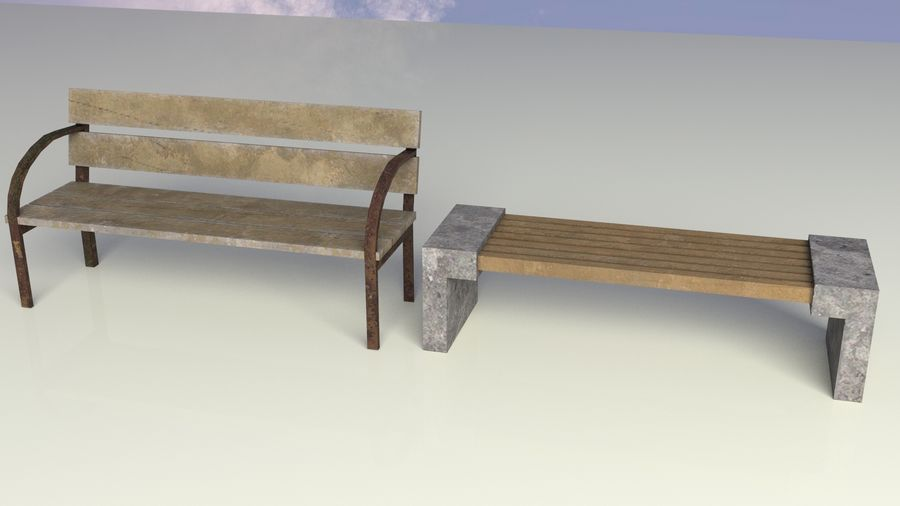 Entourage | Game Ready | Benches | Flower Bed | Border | Hanger | Watering can royalty-free 3d model - Preview no. 3