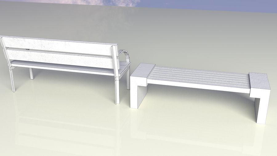 Entourage | Game Ready | Benches | Flower Bed | Border | Hanger | Watering can royalty-free 3d model - Preview no. 6