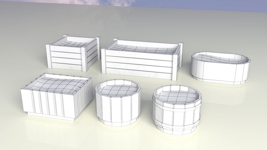 Entourage | Game Ready | Benches | Flower Bed | Border | Hanger | Watering can royalty-free 3d model - Preview no. 10