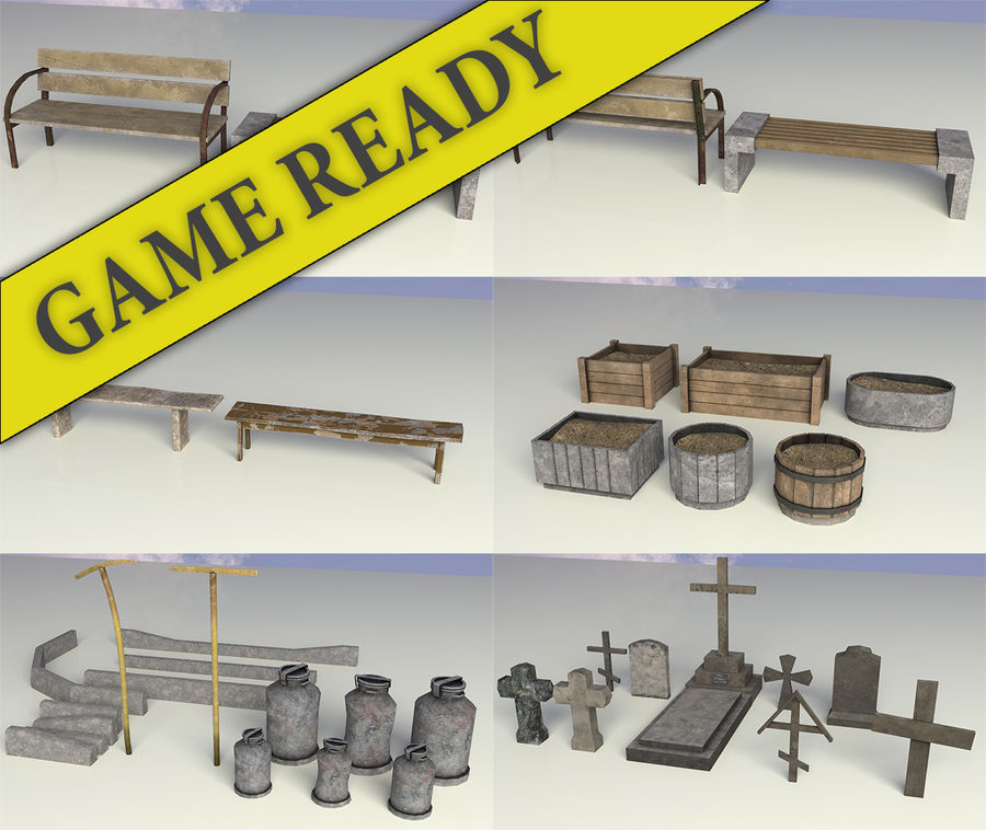 Entourage | Game Ready | Benches | Flower Bed | Border | Hanger | Watering can royalty-free 3d model - Preview no. 1