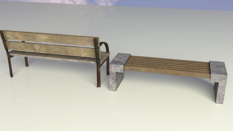 Entourage | Game Ready | Benches | Flower Bed | Border | Hanger | Watering can royalty-free 3d model - Preview no. 5