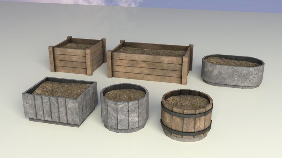 Entourage | Game Ready | Benches | Flower Bed | Border | Hanger | Watering can royalty-free 3d model - Preview no. 9