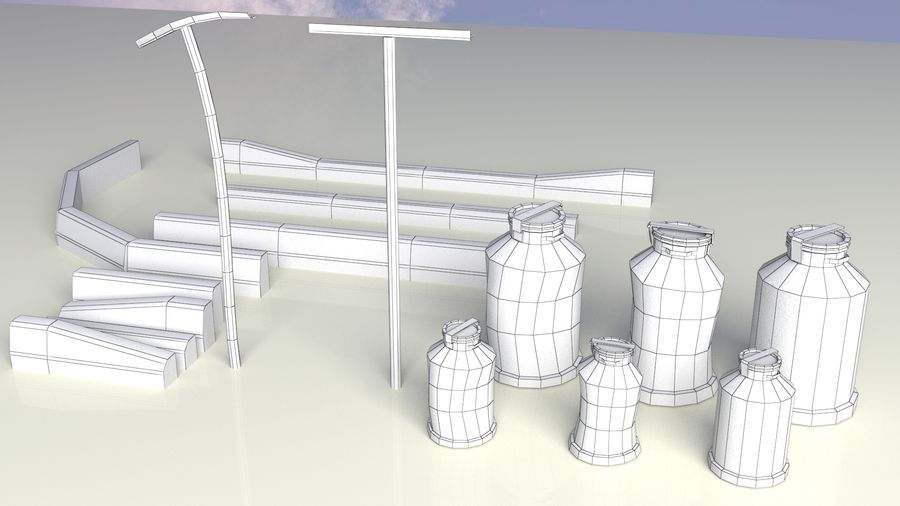 Entourage | Game Ready | Benches | Flower Bed | Border | Hanger | Watering can royalty-free 3d model - Preview no. 12