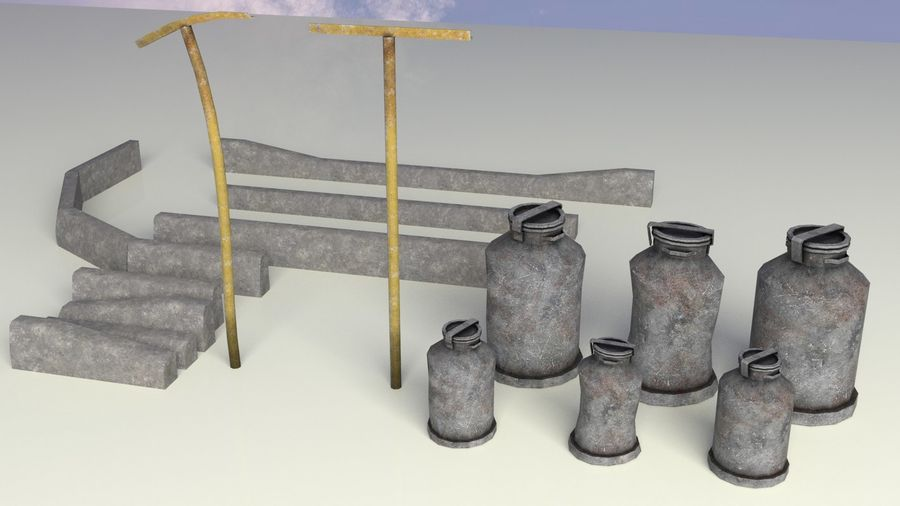Entourage | Game Ready | Benches | Flower Bed | Border | Hanger | Watering can royalty-free 3d model - Preview no. 11