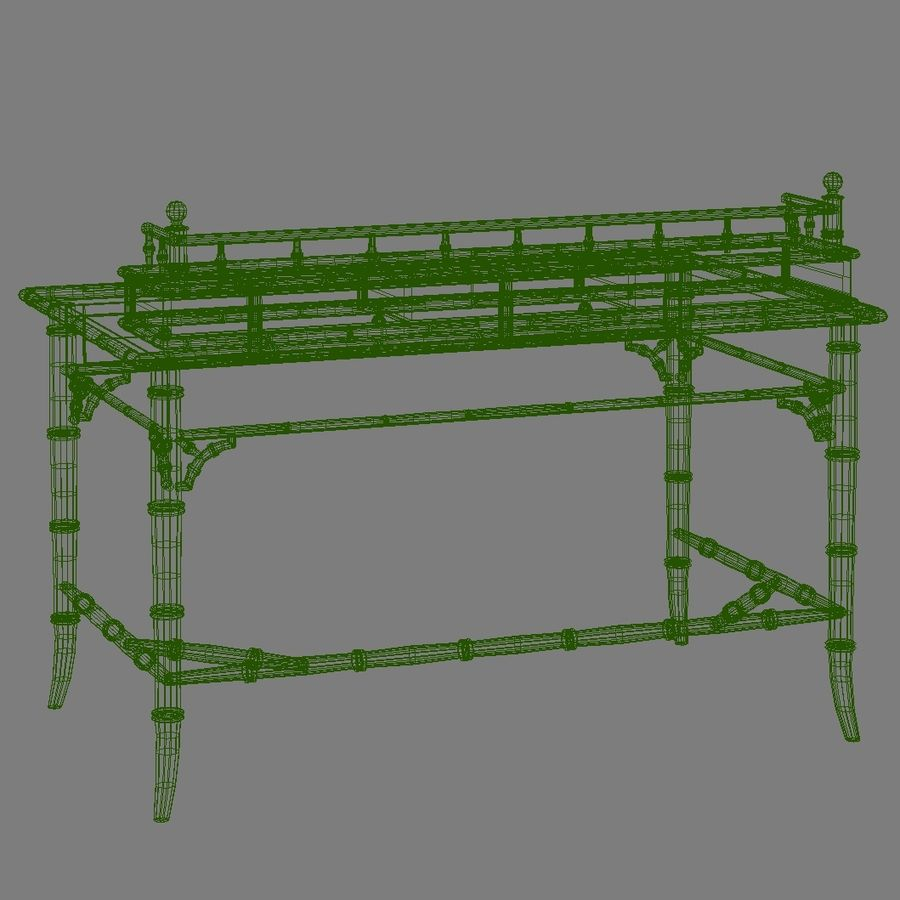 Century Furniture Faux-Bamboo Black Desk royalty-free 3d model - Preview no. 21