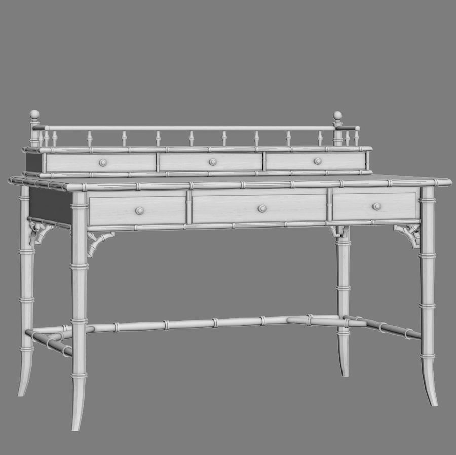 Century Furniture Faux-Bamboo Black Desk royalty-free 3d model - Preview no. 13