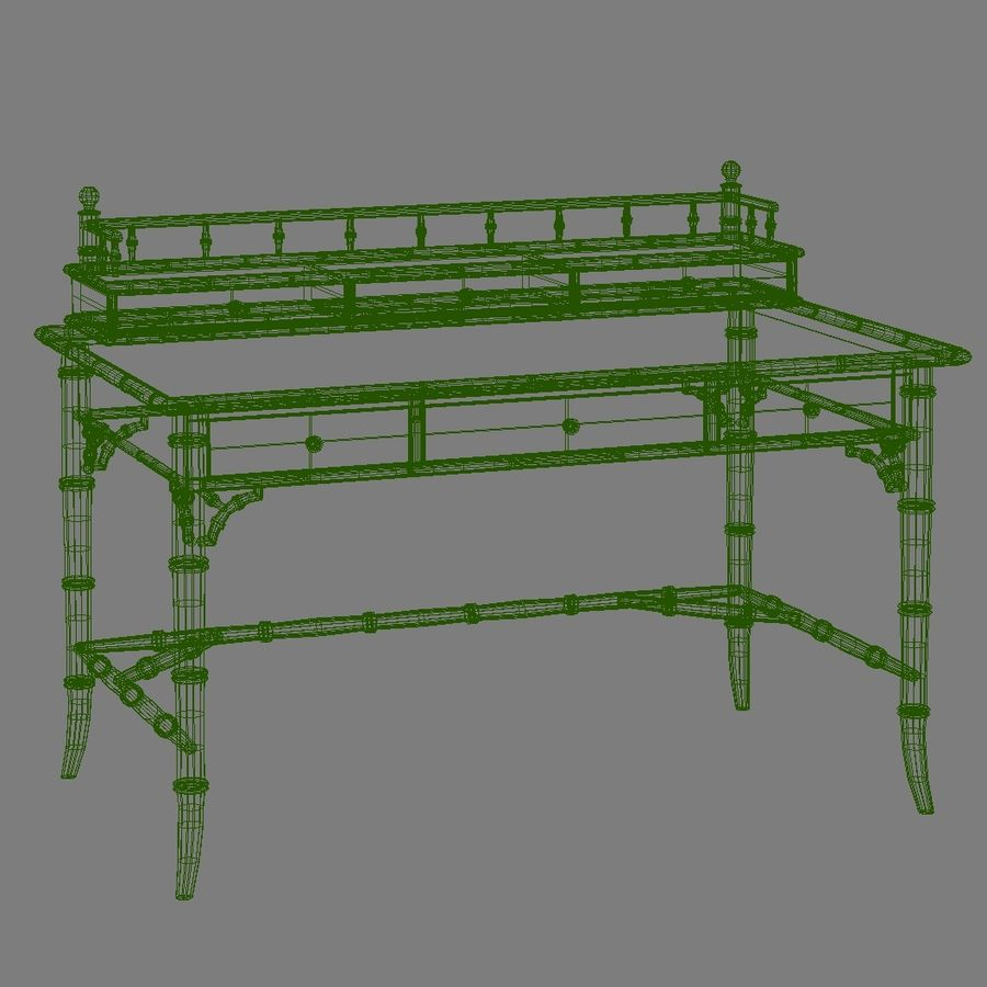 Century Furniture Faux-Bamboo Black Desk royalty-free 3d model - Preview no. 15
