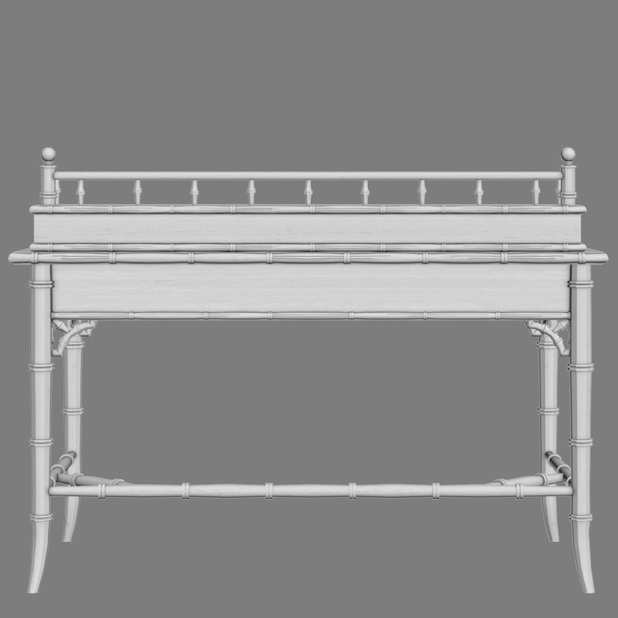 Century Furniture Faux-Bamboo Black Desk royalty-free 3d model - Preview no. 12