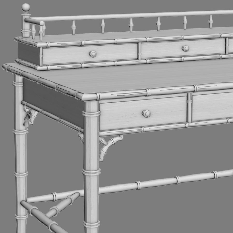 Century Furniture Faux-Bamboo Black Desk royalty-free 3d model - Preview no. 9
