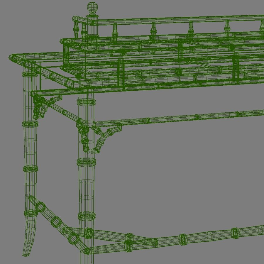 Century Furniture Faux-Bamboo Black Desk royalty-free 3d model - Preview no. 17