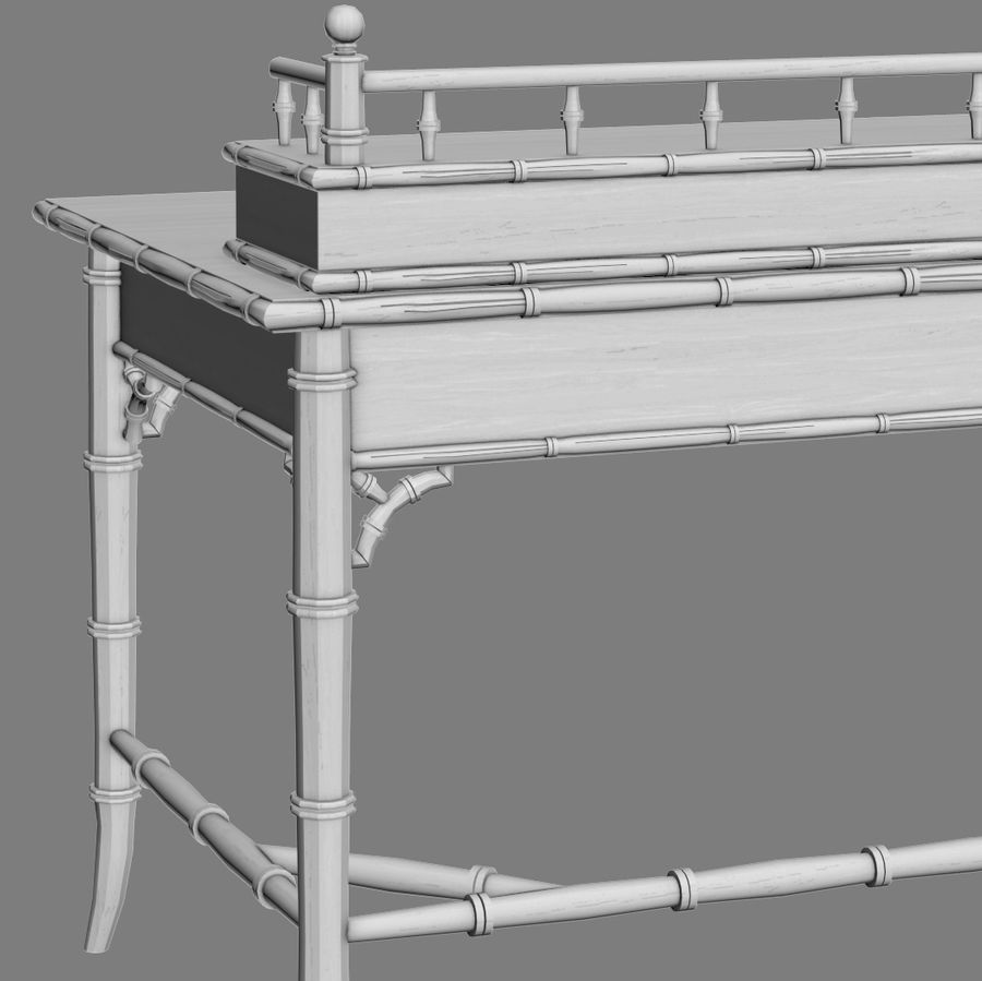 Century Furniture Faux-Bamboo Black Desk royalty-free 3d model - Preview no. 10