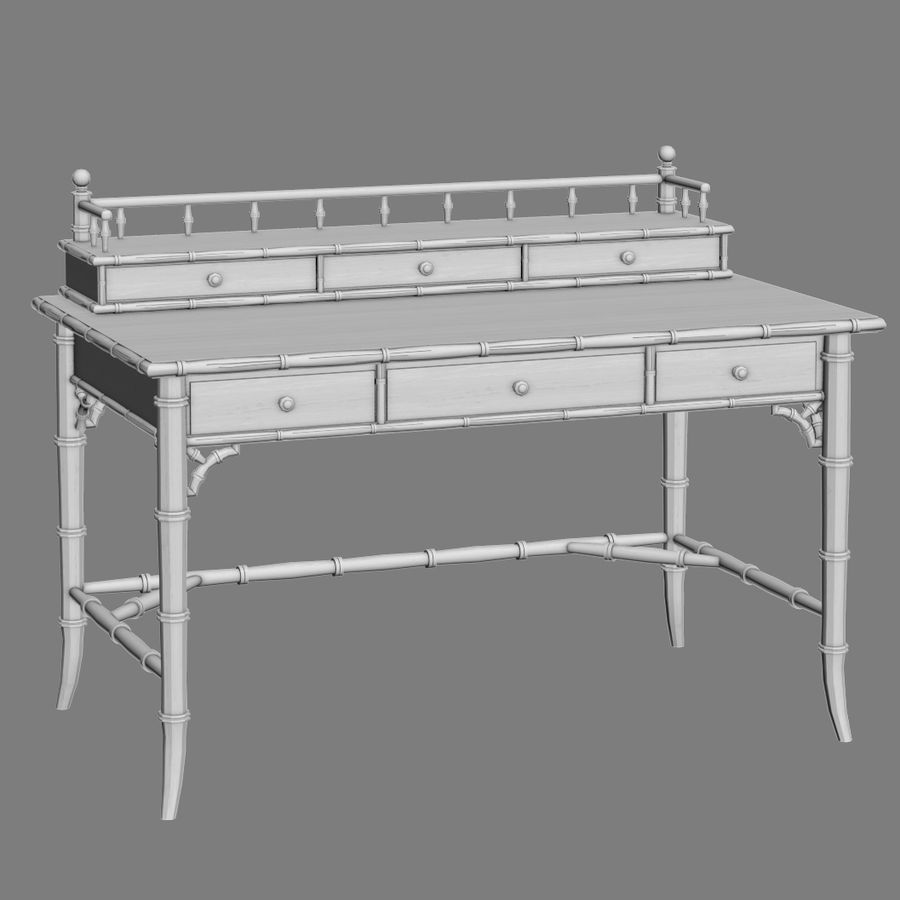 Century Furniture Faux-Bamboo Black Desk royalty-free 3d model - Preview no. 8