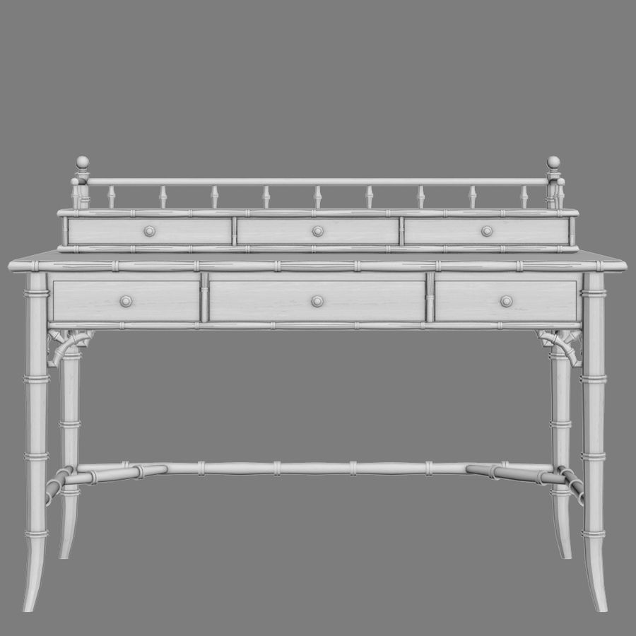 Century Furniture Faux-Bamboo Black Desk royalty-free 3d model - Preview no. 11