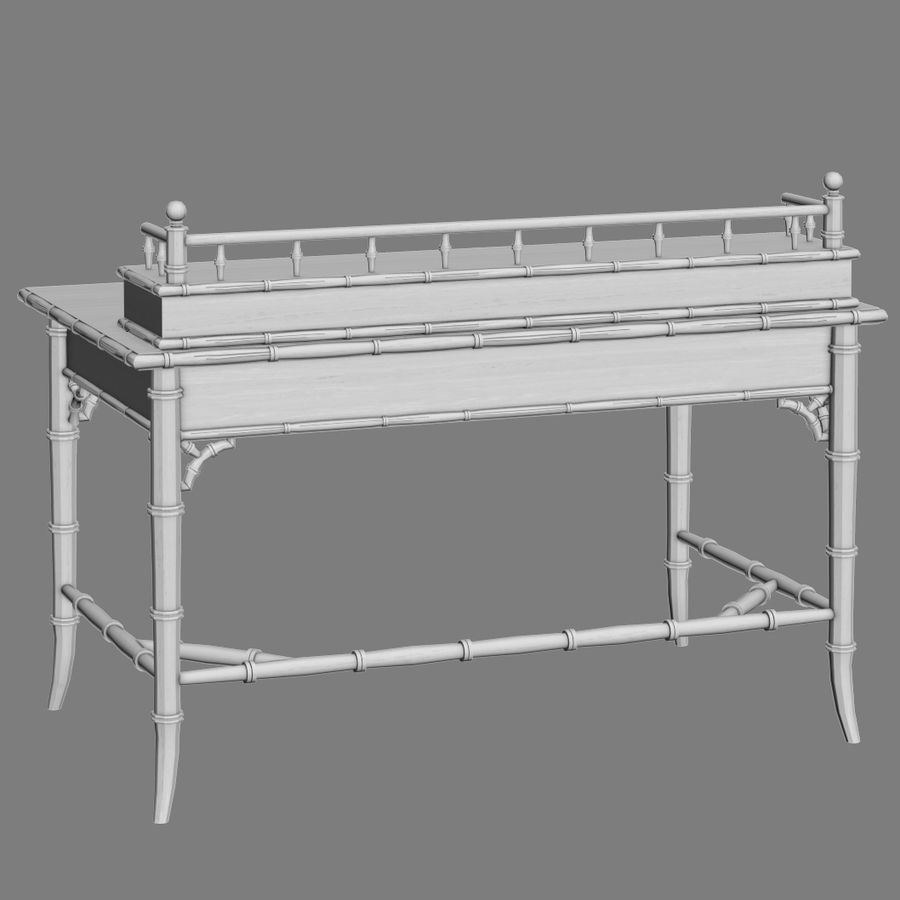 Century Furniture Faux-Bamboo Black Desk royalty-free 3d model - Preview no. 14