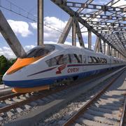 Szybki pociąg elektryczny Siemens Velaro RUS 3d model