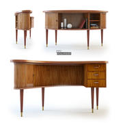 Nowoczesne, duńskie biurko w kształcie nerki 3d model