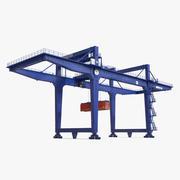 Козловой контейнерный кран на рельсах синий и 40-футовый контейнер ISO 3d model