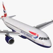 Airbus A320 British Airways Rigged 3d model