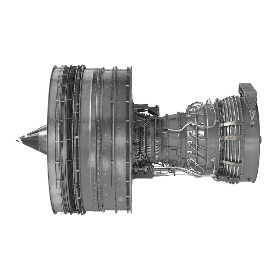 Turbofan Aircraft Engine royalty-free 3d model - Preview no. 3