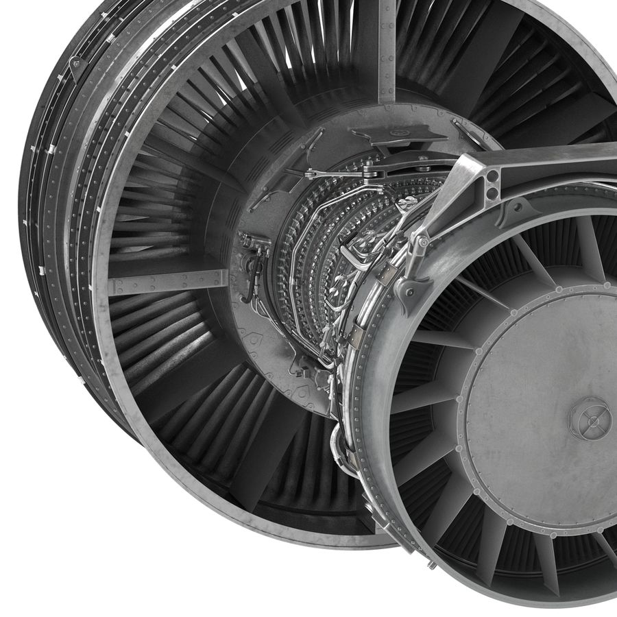 Турбореактивный авиационный двигатель royalty-free 3d model - Preview no. 16