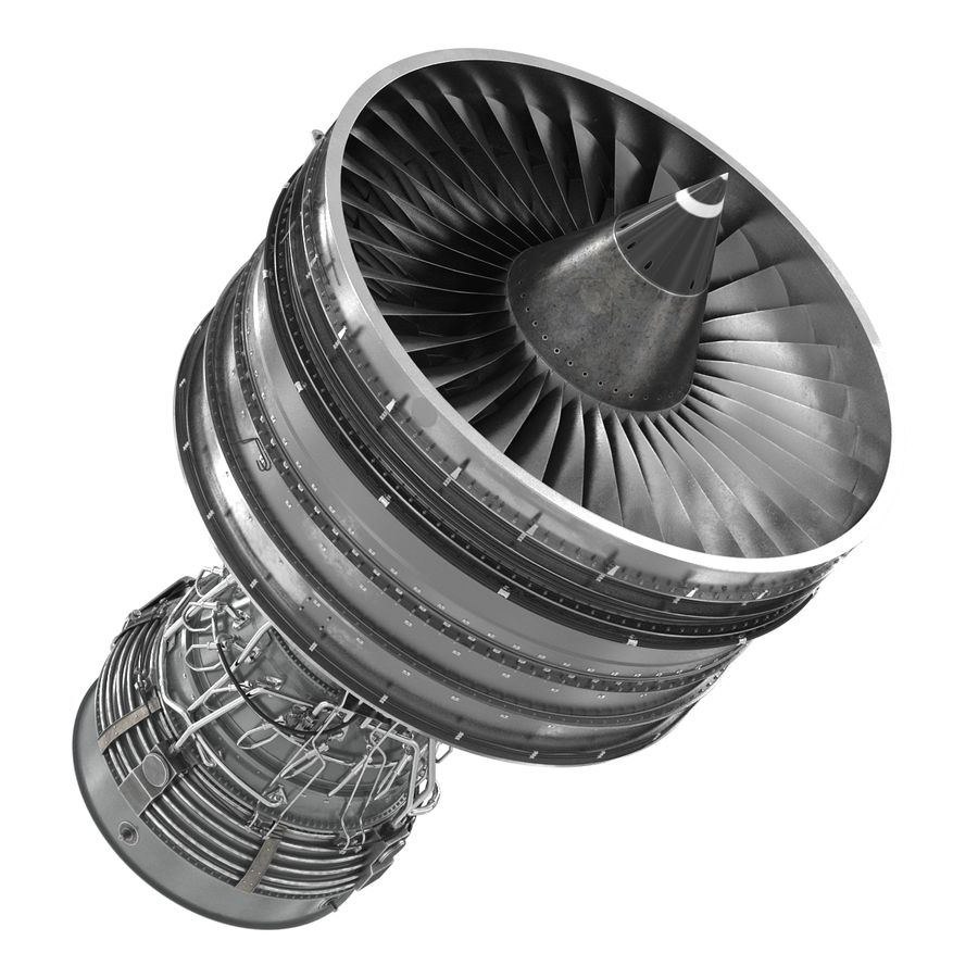 Turbofan Aircraft Engine royalty-free 3d model - Preview no. 10