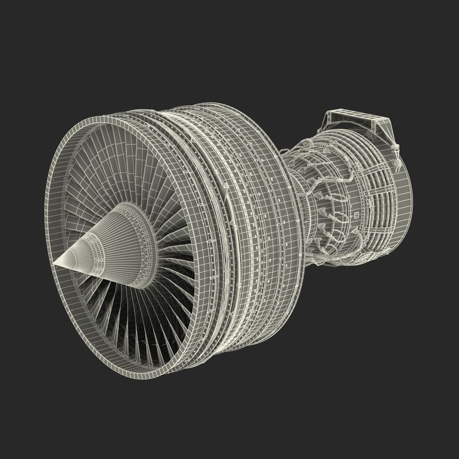 Turbofan Aircraft Engine royalty-free 3d model - Preview no. 40